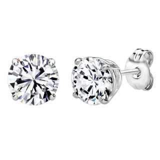 Solstice Sterling Silver 6mm Round Stud Earrings 2 cttw Made with Swarovski Zirconia