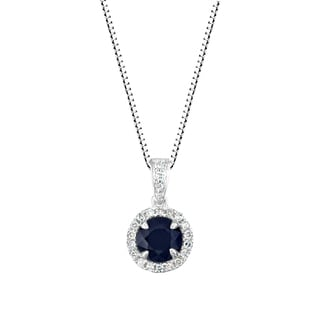 14k White Gold 1/8ct TDW Diamond and Genuine Blue Sapphire Halo Pendant Necklace (I-J, I1-I2)