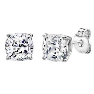 Sterling Silver 2 CTtw 6mm Cushion-cut Stud Earrings Made with Swarovski Zirconia
