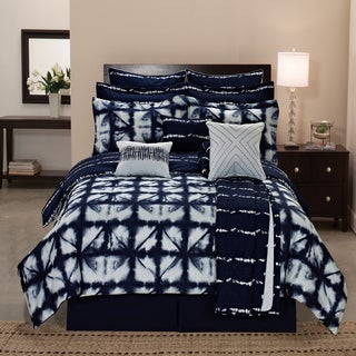 Navy Blue Tie Dye Pattern Reversible 12-piece Microfiber Comforter Set