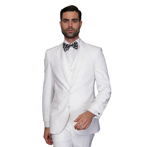 Statement Men's Lorenzo White Italian Wool 3-piece Slim Fit Suit ...