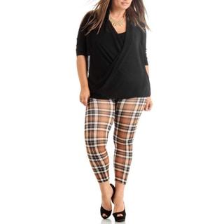 Brown Plus Size Plaid Ankle Leggings (Option: 1x)