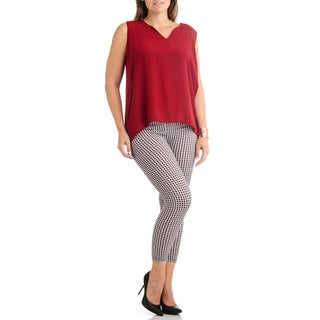 2D Geometric Plus Size Ankle Leggings
