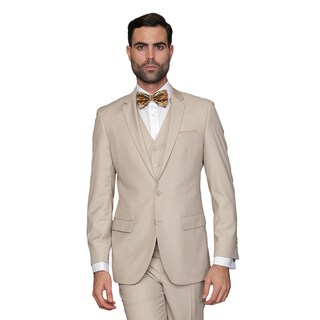 Statement Men's Lorenzo Tan Italian Wool 3-piece Slim Fit Suit (More options available)