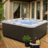 7-Person 56-Jet Bench Spa with Bluetooth Stereo System with Subwoofer and Backlit LED Waterfall