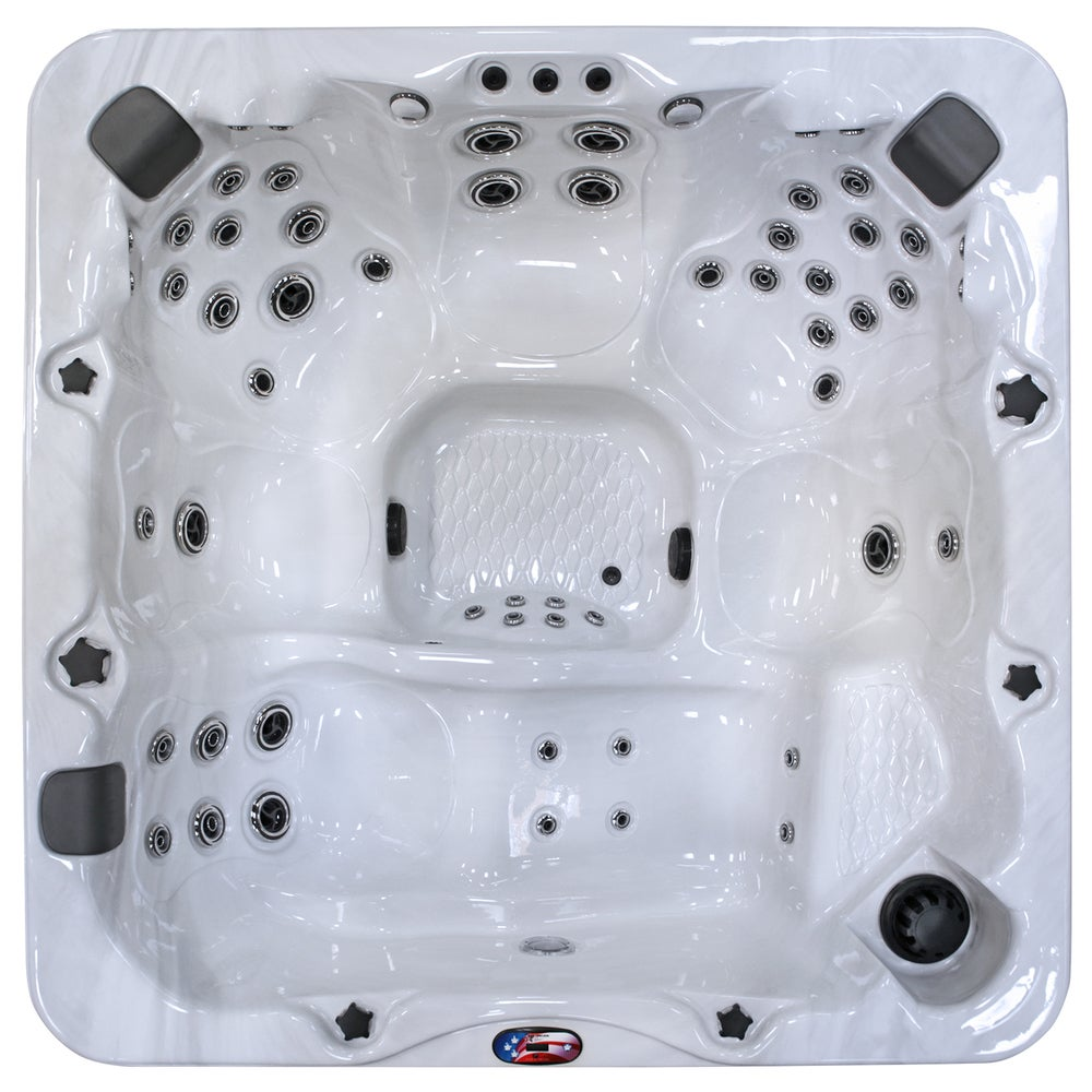 American Spas 7-Person 56-Jet Premium Acrylic Lounger Spa with Bluetooth Stereo System with Subwoofer, Backlit LED Waterfall