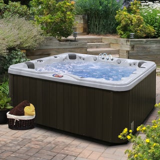 7-Person 56-Jet Lounger Spa with Bluetooth Stereo System with Subwoofer and Backlit LED Waterfall