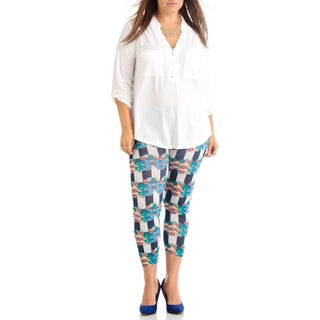 Plus Size Strip with floral Ankle Leggings.