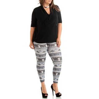Plus Size Tribal Weave Winter White Ankle Leggings.