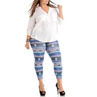 Plus Size Tribal Weave Winter Blue Ankle Leggings.
