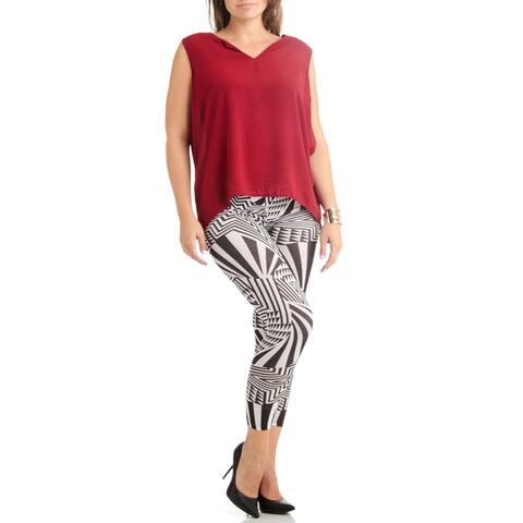 Plus Size Black and White Horizon Footless Leggings