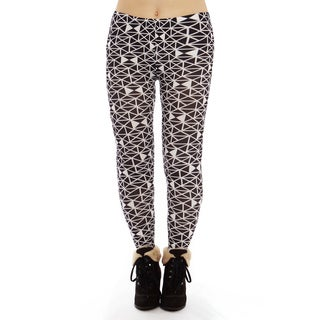 Women's Black/White Pattern Plus Size Legging