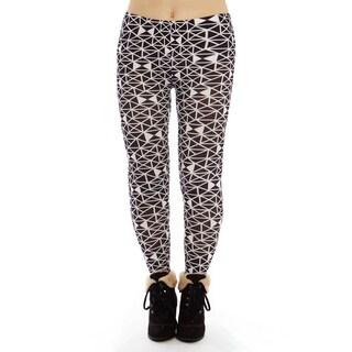 Women's Black/White Pattern Plus Size Legging