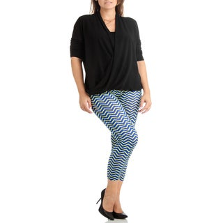 Women's Yellow/Blue Pattern Plus Size Legging