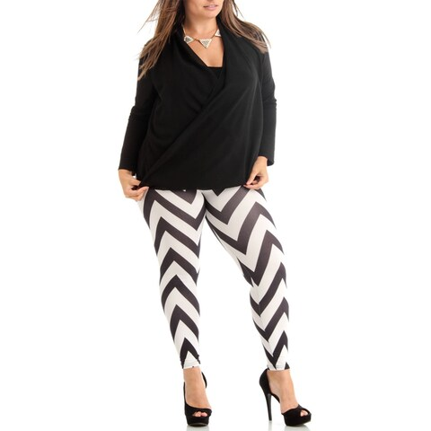Women's Black/White Chevron Pattern Plus Size Legging