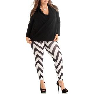 Women's Black/White Chevron Pattern Plus Size Legging