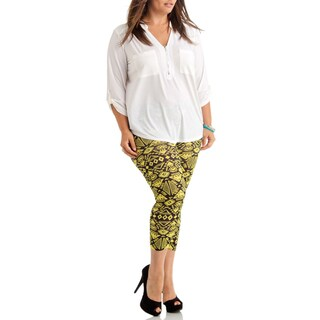 Funky Yellow Tribal Plus Size Ankle Leggings