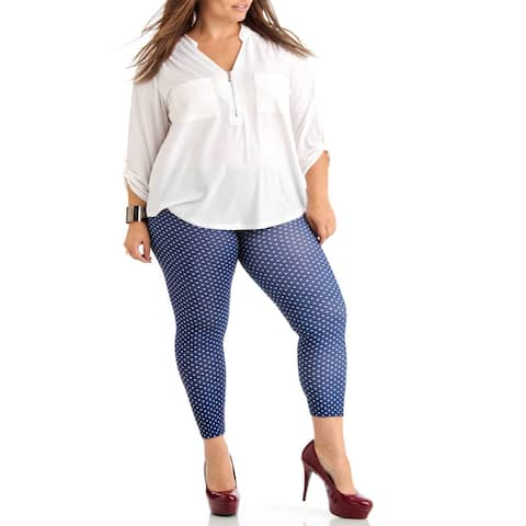 Blue/White Polka Dot Plus Size Ankle Leggings