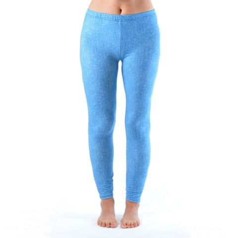 Baby Blue Denim Print Plus Size Ankle Leggings
