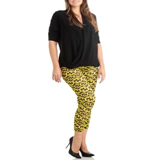 Plus Size Black/Yellow Pattern Print Leggings