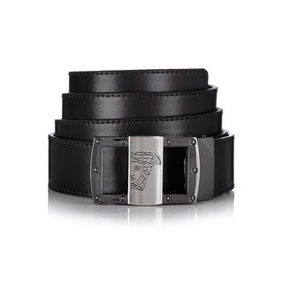 Versace Collection 174 Black Leather Medusa Adjustable Belt