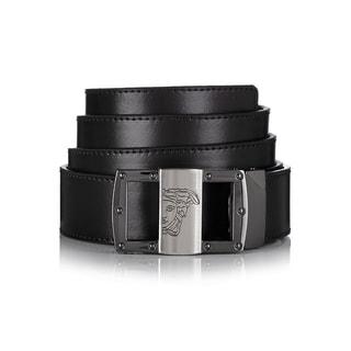 Versace Collection 174 Black Leather Medusa Adjustable Belt