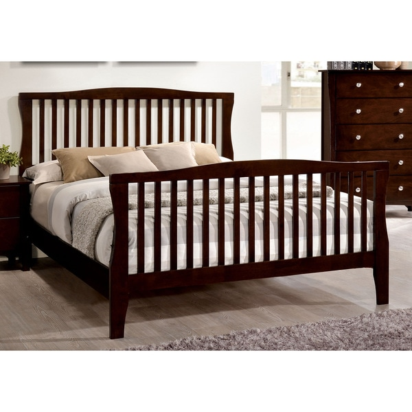 Furniture of America Dizi Modern Cherry Solid Wood Slatted Panel Bed
