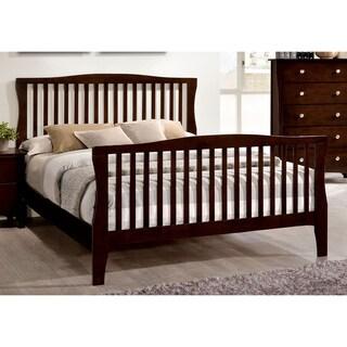 Furniture of America Raylee Modern Brown Cherry Slatted Bed