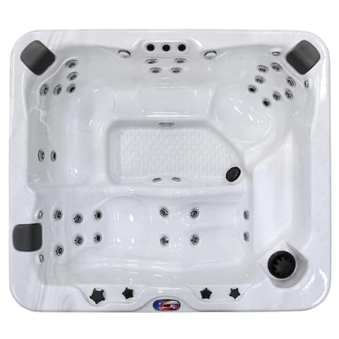 6-Person 37-Jet Premium Acrylic Lounger Spa with Bluetooth Stereo System with Subwoofer and Backlit LED Waterfall