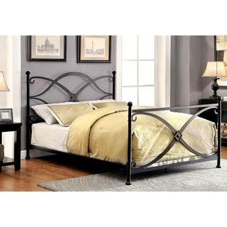 Furniture of America Oria Contemporary Black Metal Four Poster Bed