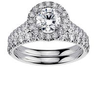 Platinum 2 1/4ct TDW Diamond Engagement Bridal Set