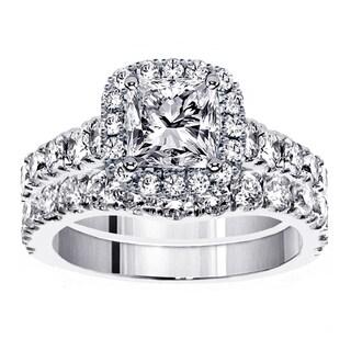 18k White Gold 3 1/3ct TDW Diamond Halo Bridal Ring Set