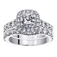 18k White Gold 3 1/3ct TDW Diamond Halo Bridal Ring Set