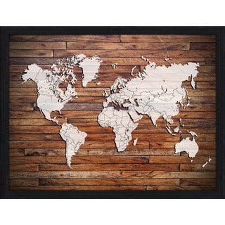 World Map On Wood 1' Giclee Wood Wall Decor