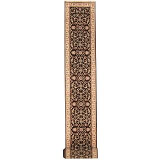 Herat Oriental Indo Hand-knotted Kashan Black/ Ivory Wool Runner (2'8 x 24'2)