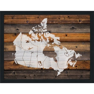 Canada Map On Wood 1' Giclee Wood Wall Decor