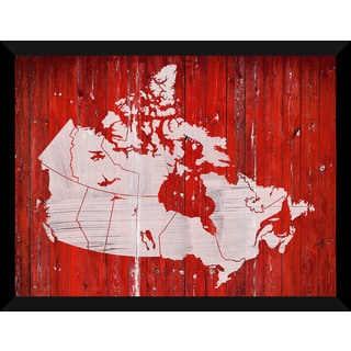 Canada Map On Wood 2' Giclee Wood Wall Decor