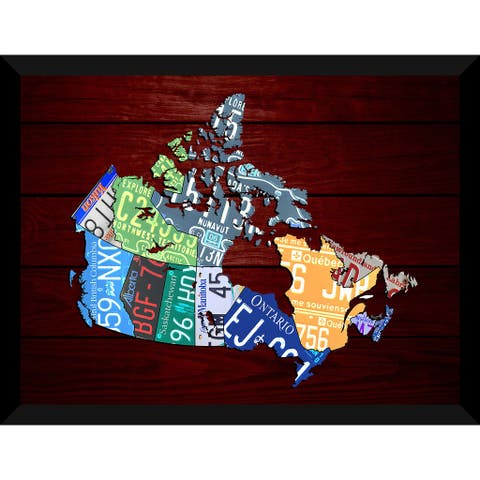 Canada Map Red Wood Giclee Wood Wall Decor