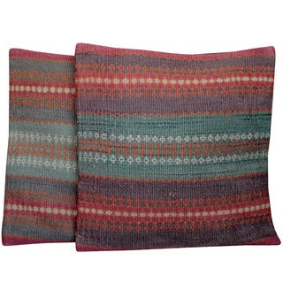 Herat Oriental Indo Tribal Kilim Pillows (Set of 2)