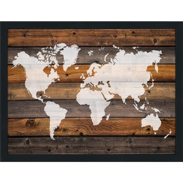 Shop World Map On Wood 1 Giclee Wood Wall Decor - On Sale ...