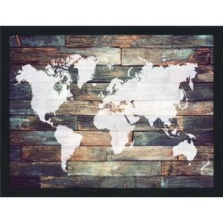 World Map On Wood 2 Giclee Wood Wall Decor