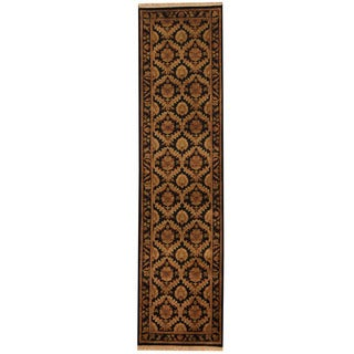 Herat Oriental Indo Hand-knotted William Morris Black/ Gold Wool Runner (2'7 x 10'2)