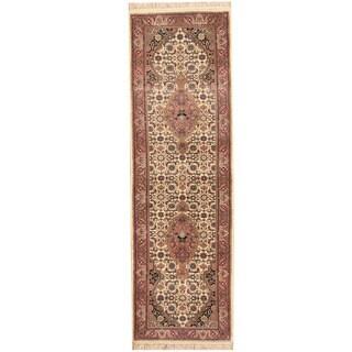 Herat Oriental Indo Hand-knotted Bidjar Ivory/ Salmon Wool Runner (2'5 x 7'9)