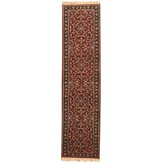 Herat Oriental Indo Hand-knotted Kashan Red/ Navy Wool Runner (2'6 x 10'2)