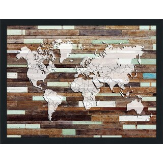 World Map On Wood 3 Giclee Wood Wall Decor
