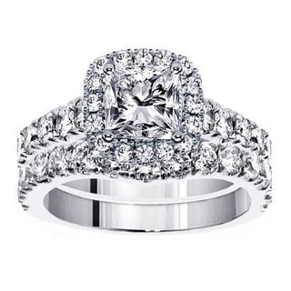 Platinum 3 1/3ct TDW Diamond Halo Bridal Ring Set