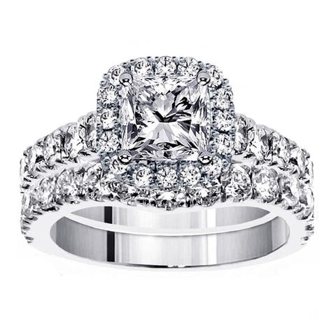 Platinum 3 1/3ct TDW Diamond Halo Bridal Ring Set