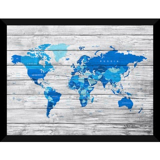 Map Of The World Giclee Wood Wall Decor