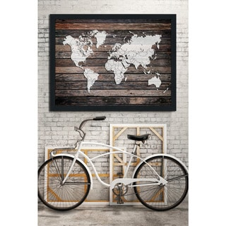 World Map On Wood 4' Giclee Wood Wall Decor