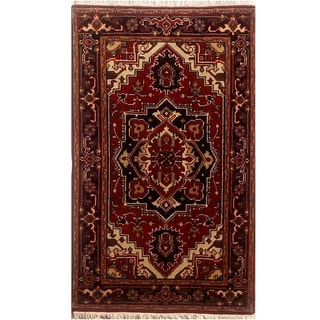 Herat Oriental Indo Hand-knotted Serapi Red/ Black Wool Rug (3'1 x 5')